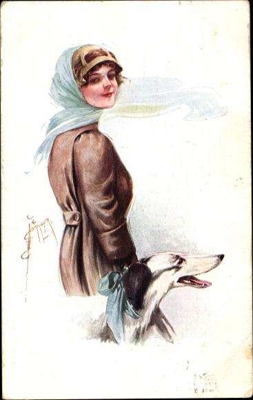 Künstler Ak Barber, Court, Frau m. Windhund, Portrait