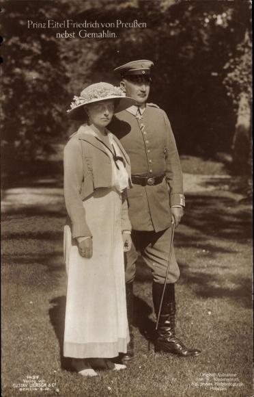Ak Prinz Eitel Friedrich Prinz von Preußen, Herzogin Sophie Charlotte, Portrait