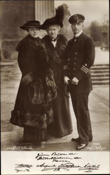 Ak Kaiserin Auguste Viktoria, Adalbert Prinz von Preußen, Prinzessin Adelheid Erna Carolina Marie