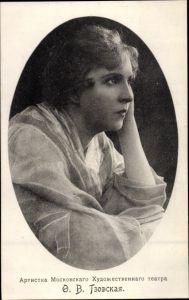 Passepartout Ak F.W. Tzowskaya?, russische Schauspielerin, Portrait, Moskauer Theater