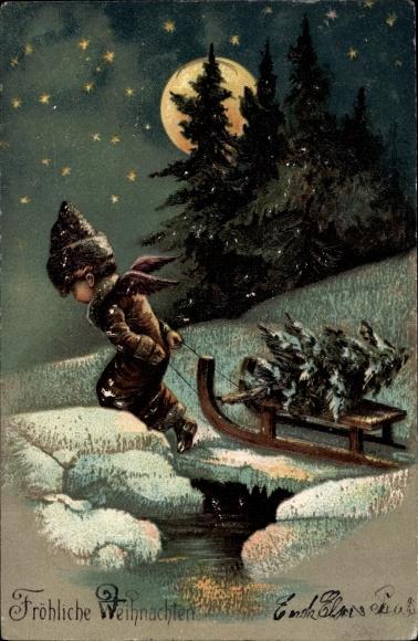 Präge Mondschein Litho Frohe Weihnachten, Tannenbaum, Schlitten, Schneelandschaft