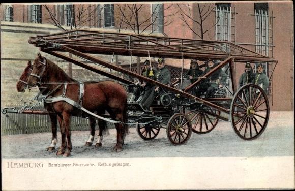 Ak Hamburger Feuerwehr, Rettungswagen, Pferde