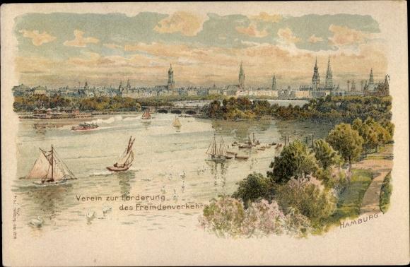 Litho Hamburg, Stadtpanorama, Verein zur Förderung des Fremdenverkehrs
