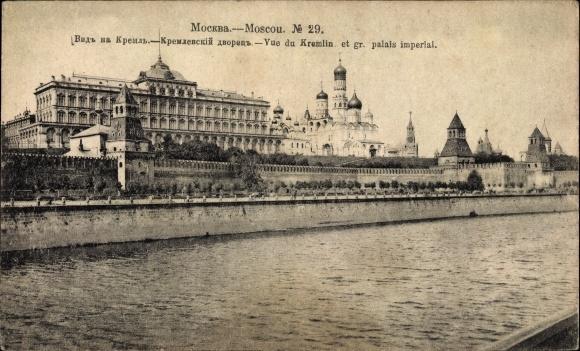 Ak Moskau Russland, Vue du Kremlin, Palais imperial