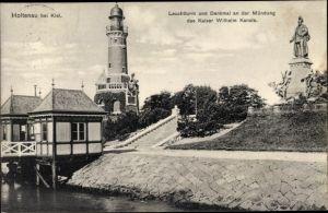 Ak Holtenau Kiel Schleswig Holstein, Leuchtturm, Denkmal, Mündung Kaiser Wilhelm Kanal