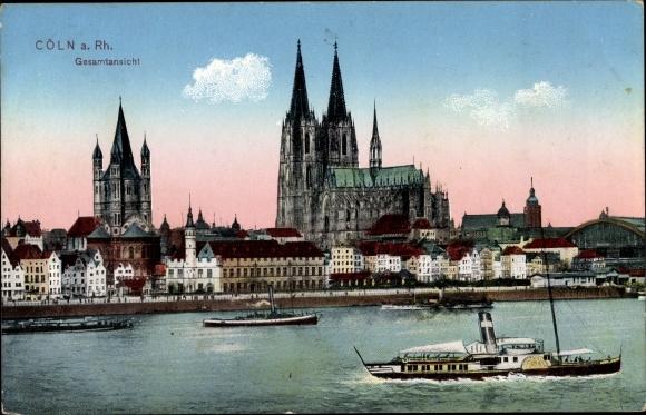 Ak Köln, Gesamtansicht, Schiffe auf dem Rhein