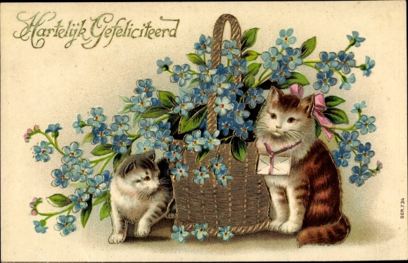Präge Ak Glückwunsch, Hauskatzen, Vergissmeinnicht, Hartelijk Gefeliciteerd
