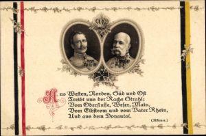 Ak Kaiser Wilhelm II., Kaiser Franz Joseph I., Aus Westen, Norden, Süd und Osten