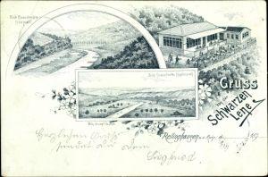 Litho Rellinghausen Essen, Gastwirtschaft Schwarze Lene, Kupferdreh, Villa Hügel