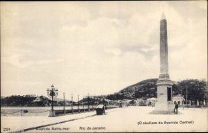 Ak Rio de Janeiro Brasilien, Avenida Beira mar, Obelisco da Avenida Central