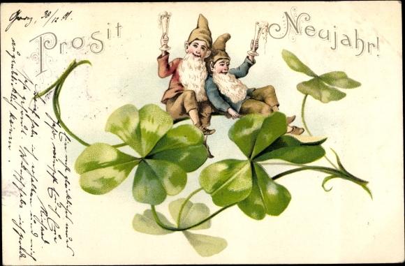 Ak Glückwunsch Neujahr, Kleeblätter, Zwerge, Sektgläser