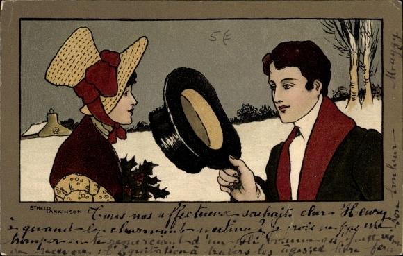 Künstler Ak Parkinson, Ethel, Frohe Weihnachten, Frau mit Stechpalmenzweig, grüßender Mann