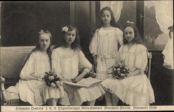 Ak Adel Luxemburg, Großherzogin Maria Adelheid, Prinzessin Charlotte, Antonia, Hilda