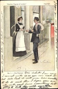 Künstler Ak Familiar Figures of London, The Postman, Postbote, Dienstmädchen