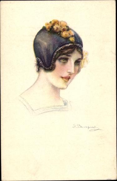 Künstler Ak Frauenportrait, Mütze, Haube, Blumen