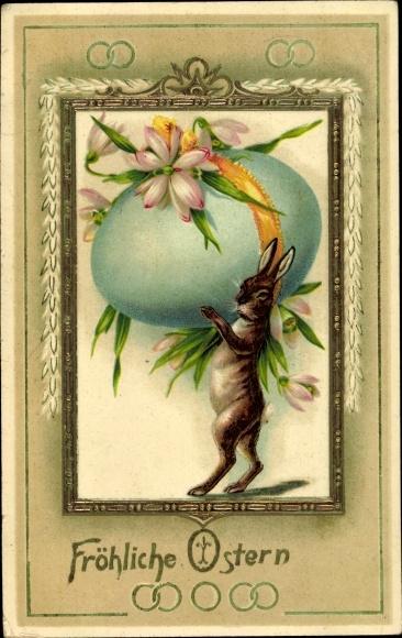 Präge Ak Glückwunsch Ostern, Osterhase, Osterei, Schneeglöckchen