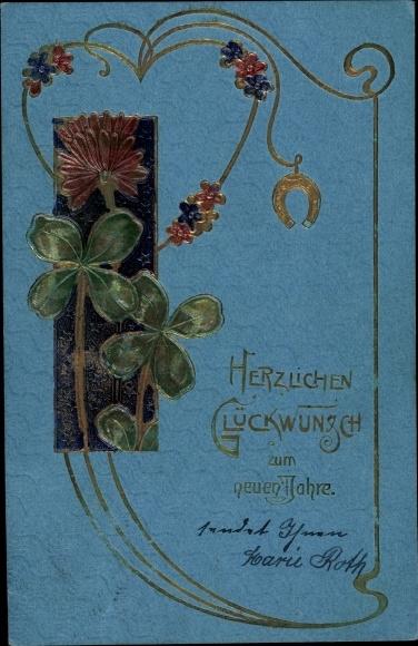 Präge Ak Glückwunsch Neujahr, Kleeblätter, Hufeisen