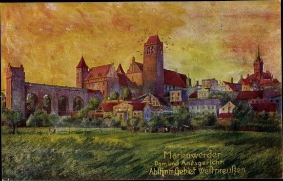 Künstler Ak Kwidzyn Marienwerder Westpreußen, Dom, Amtsgericht, Abstimmgebiet Westpreußen