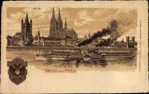 Litho Köln am Rhein, Blick auf den Dom, Dampfer Kaiserin Auguste Viktoria