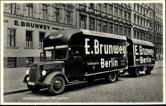 Ak Berlin Prenzlauer Berg Möbel Transport Brunwey Lastwagen