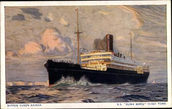 Künstler Ak Dampfer SS Suwa Maru, Nippon Yusen Kaisha