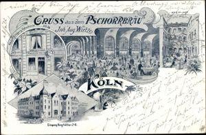 Litho Köln am Rhein, Pschorrbräu, Hohestraße 38, Burghöfchen 2-6, Kneiphof