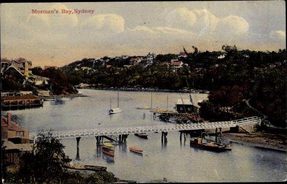 Ak Sydney Australien, Mosman's Bay, Brücke, Stadtansicht