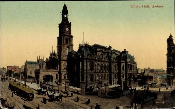 Ak Sydney Australien, Town Hall, Straßenbahn