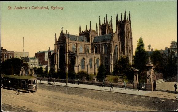 Ak Sydney Australien, St. Andrew's Cathedral, Straßenbahn