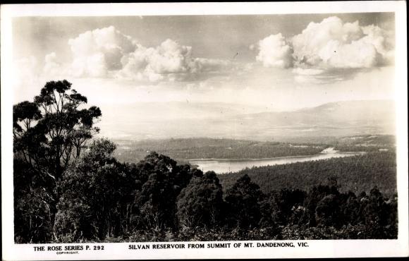 Ak Victoria Australien, Silvan Reservoir from Summit of Mount Dandenong
