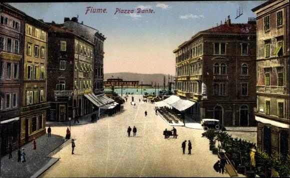 Ak Rijeka Fiume Kroatien, Piazza Dante, Straßenpartie