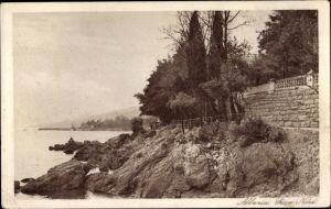 Ak Opatija Abbazia Kroatien, Riva Nord, Partie an der Küste