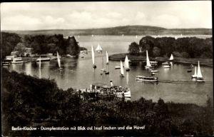 Ak Berlin Spandau Kladow, Dampferstation mit Blick auf Insel Imchen und die Havel