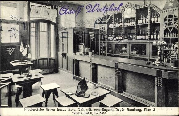 Ak Hamburg, Probierstube Erven Lucas Bols, Depot Hamburg, Plan 3