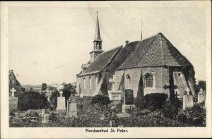 Ak Sankt Peter Ording in Nordfriesland, Kirche, Friedhof