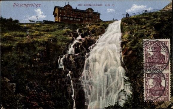 Ak Elbfallbaude im Riesengebirge Königgrätz, Elbfall