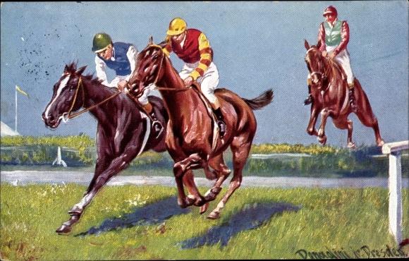 Künstler Ak Donadini, Antonio Ermenegildo, Pferderennen, Sprung über einen Graben