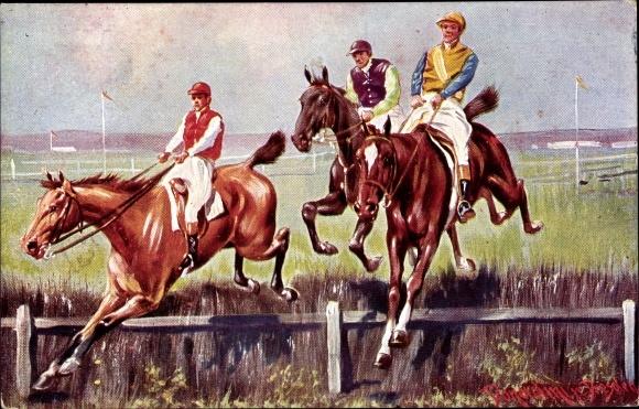 Künstler Ak Donadini, Antonio Ermenegildo, Pferderennen, Sprung über ein Hindernis