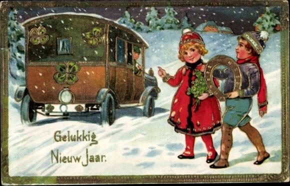 Ak Glückwunsch Neujahr, Bus, Kinder, Hufeisen, Kleeblätter