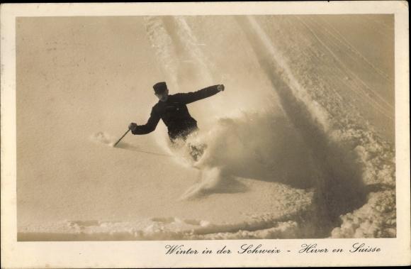 Ak Winter in der Schweiz, Hiver en Suisse, Skiläufer, Wintersport