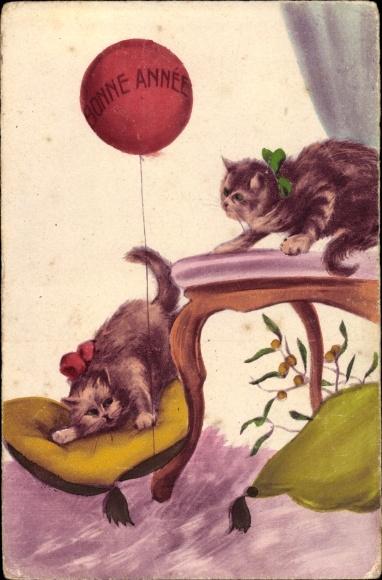 Künstler Ak Zwei Hauskatzen, Ballon, Glückwunsch Neujahr