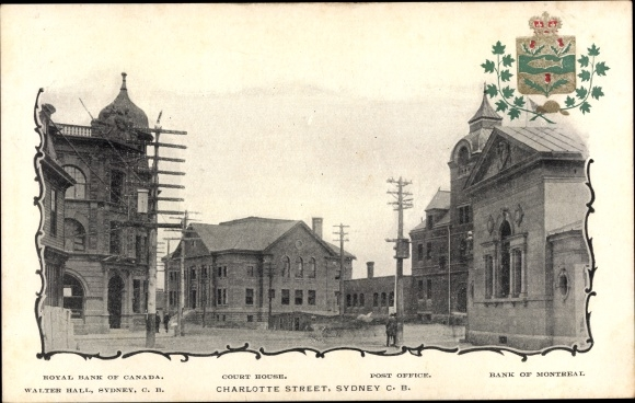 Ak Sydney Nova Scotia, Charlotte Street, Royal Bank of Canada, Court House, Post Office, Wappen