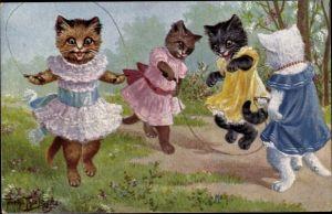 Künstler Ak Thiele, Arthur, Hauskatzen beim Seilhüpfen