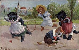 Künstler Ak Thiele, Arthur, Katzen beim Spielen, Kreisel