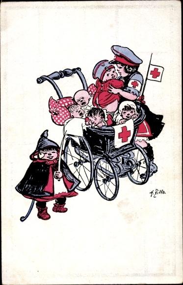 Künstler Ak Zille, Heinrich, Kinder, Rotes Kreuz