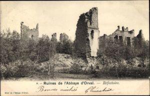 Ak Orval Namur Wallonien Belgien, Ruines de l'Abbaye d'Orval, Refectoire
