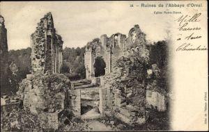 Ak Orval Namur Wallonien Belgien, Ruines de l'Abbaye d'Orval, Eglise Notre Dame