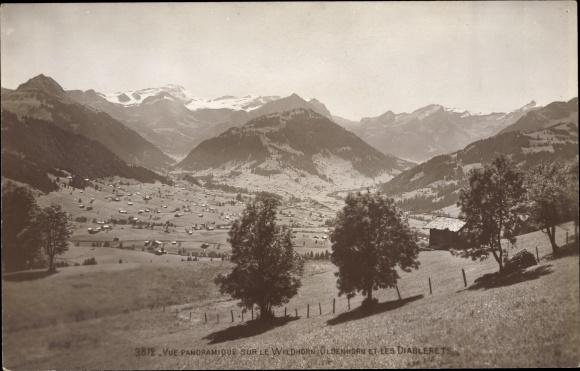 Ak Kt. Bern, Vue panoramique sur le Wilhorn, Oldernhorn et les Diablerets