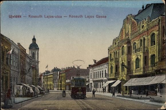 Ak Novi Sad Újvidék Neusatz Serbien, Kossuth Lajos Gasse, Straßenbahn Linie 29
