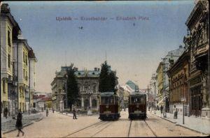 Ak Novi Sad Újvidék Neusatz Serbien, Elisabeth Platz, Straßenbahnen Linien 27 und 31